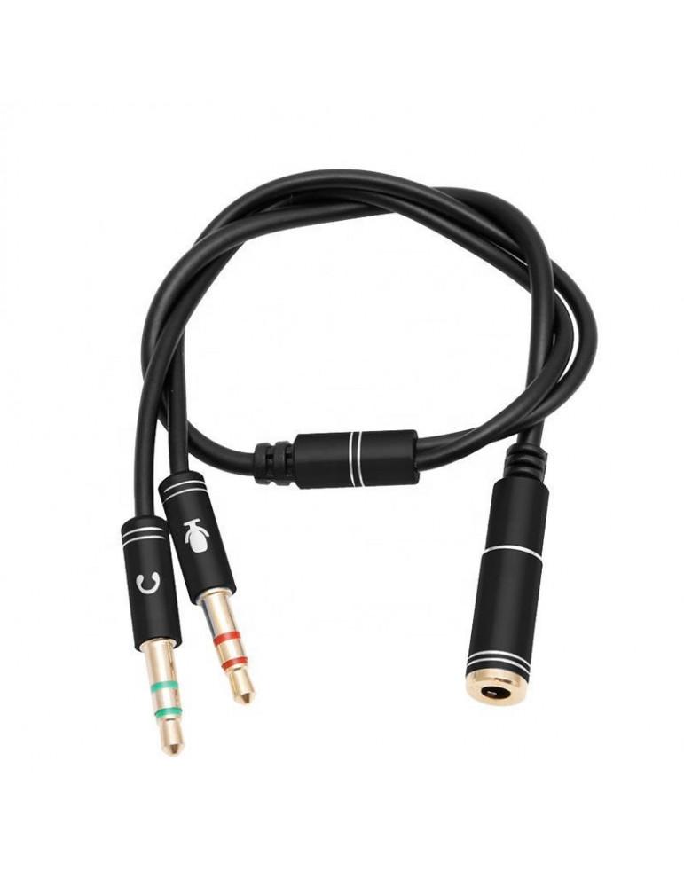 Переходник для наушников с микрофоном в один разъем 3.5 мм