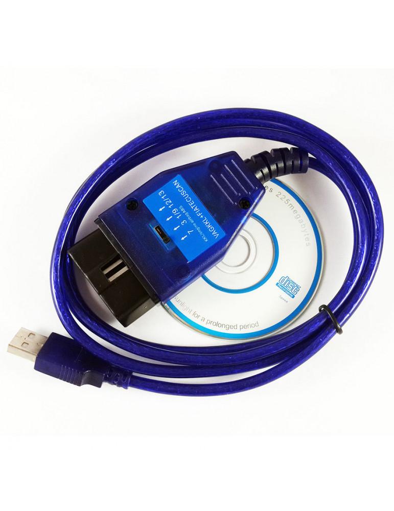 Автосканер VAG KKL + FIAT ECU SCAN на чипе FTDI диагностический адаптер